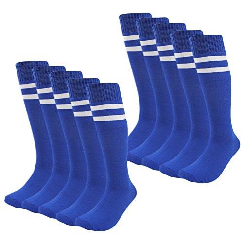 Kids Soccer Socks 4 Pack Boys Girls Cotton Team Socks Teens Children Soccer Socks (Shoe size 1-5 and Ages 8-11, Blue)