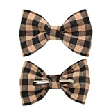 Boys Black and Tan Plaid Clip On Cotton Bow Tie
