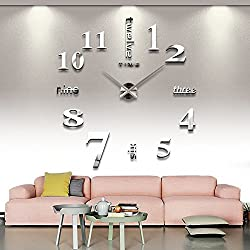 Yikebo(TM) English Letters Arabic Numbers Luxury Large Size Moderen DIY Frameless Quartz 3D Large Big Mirror Surface Effect Wall Clock Oversized Clock Living Room Décor Wall Sticker Decal Meetting Room Office Creative Decoration Art Watches-2 Colors