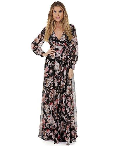 e9e35228359 ZAFUL Women Vintage Floral Long Sleeve Dress Bohemian Chiffon Wrap Boho  Maxi Dresses(Black and Pink