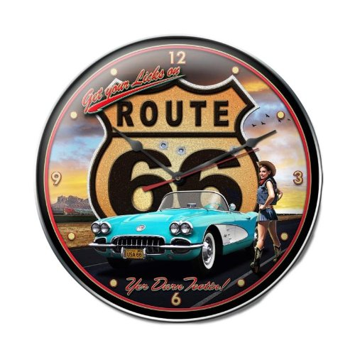 Old Time Signs Route 66 Girl Clock Metal Sign Wall Decor