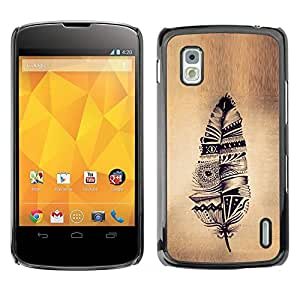 PC/Aluminum Funda Carcasa protectora para LG Google Nexus 4 E960 feather Indian native parchment rustic / JUSTGO PHONE PROTECTOR