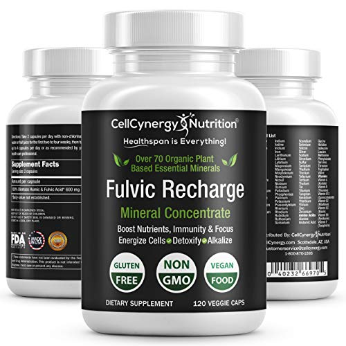 - Keto Electrolytes Fulvic Acid Trace Minerals Supplement – Organic, Vegan - Fulvic Humic Mineral Blend - Energy, Detox, Inflammation, Immunity, Focus – CellCynergy 120 Veggie Capsules