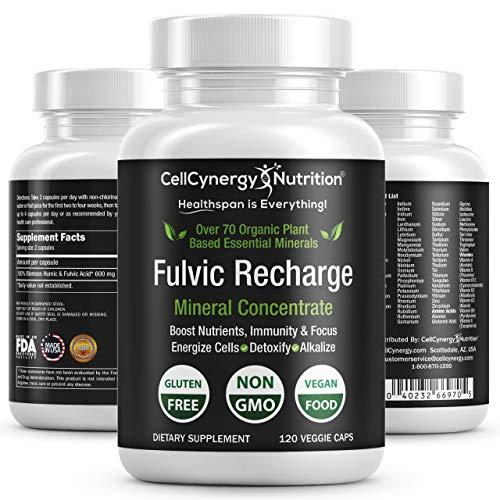 - Premium Organic Fulvic Acid Trace Minerals Supplement – Keto, Vegan, Electrolytes - Fulvic Humic Mineral Blend - Energy, Detox, Inflammation, Immunity, Focus – CellCynergy 120 Veggie Capsules