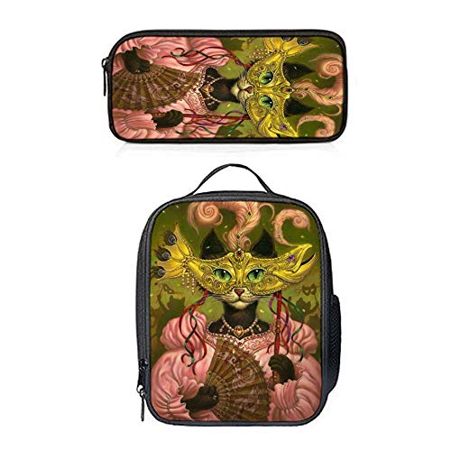 SARA NELL Lunch Backpack Lunch Box Lunch Tote Mrs.Cat Women Party Lunch Bag&Pencil Case Set with Straps for Boys Girls]()