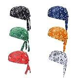 ransiy 6 Packs Paisley Skull Cap Head Wraps Biker Dew Rag Beanie Cap Hat Chemo Cap for Men and Women