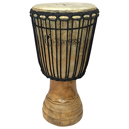 Hand-carved Classical Heartwood Djembe Drum from Africa - 10''x20'' by Africa Heartwood Project