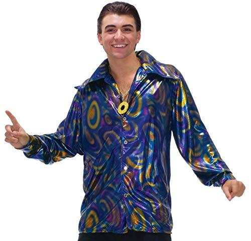 Forum Novelties Men's Dynomite Dude Disco Shirt, Purple/Gold/Blue, Medium]()