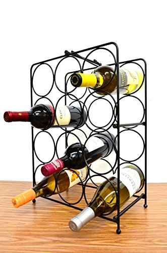 Superiore Livello Napoli 12 Bottle Free Standing Wine Rack, Wine Holder Free Standing Metal Rack for Floor Modern Scroll Art Design Wine Bottle Storage Rack Perfect Floor Standing Wine Storage (Modern Bottle Rack)