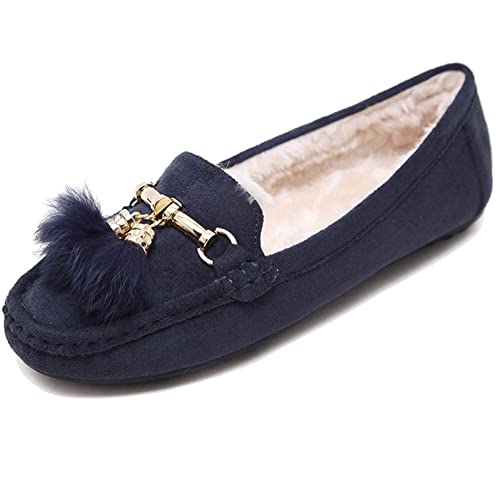 Mujer Mocasines Loafers Planos Zapatos Calentar Forrado con Suela Antideslizante: Amazon.es: Zapatos y complementos