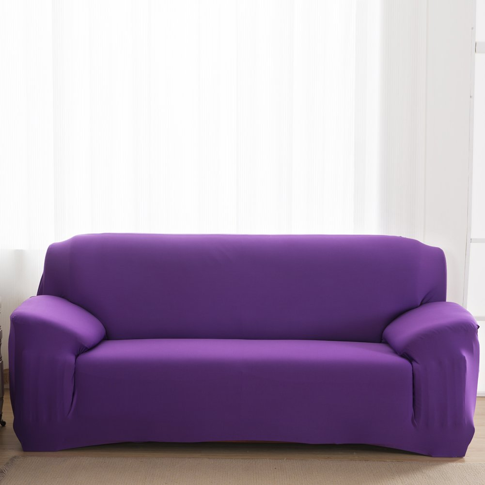 Vipeco Slipcover Stretchable Pure Color Sofa Cushion Covers (Loveseat Purple) by Vipeco (Image #3)