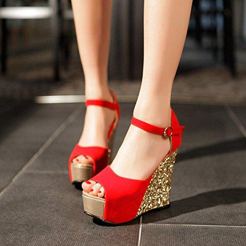 KHSKX-Die Piste Mit Fisch Mund Sandalen Weiblich Hochhackige Schuhe Sommer Plattform Wasserdichte Taiwan Rote Pailletten - Süße Hochzeits - Schuhe gules