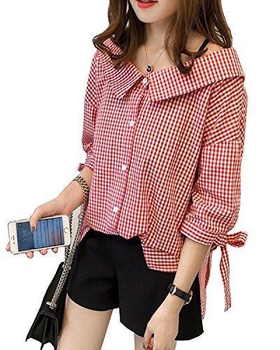 Youndcc Women Tartan Plaid Shirts, Casual Button Down Shirt,Roll up Sleeve Casual Boyfriend Gingham Checkered Shirt (X-Large, Red)