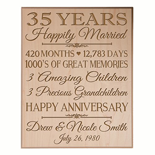 Personalized 35th Anniversary Gifts for him her Couple parents, Custom Made 35 year Anniversary Gifts ideas Wall Plaque 12