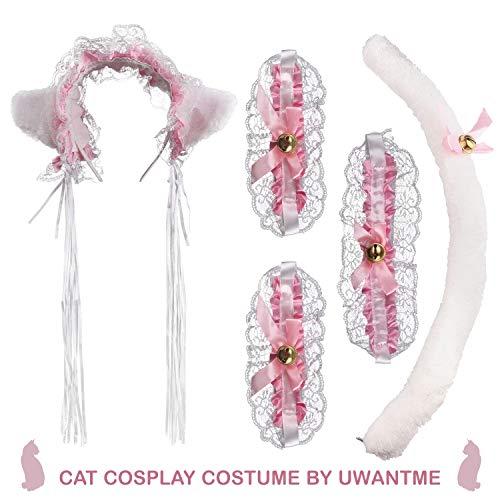 UWANTME Cat Cosplay Costume Anime Maid Lolita Lace Ears Headband Collar Bracelet Kitten Tail Set … -