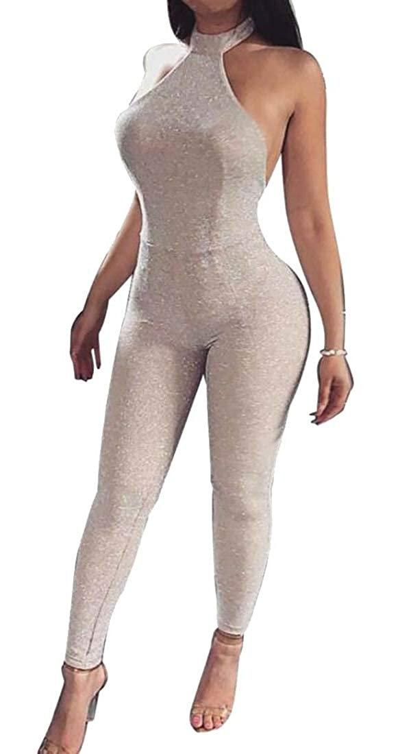 GAGA Women Halter Neck Backless Bodycon Club Rompers Sleeveless Jumpsuit