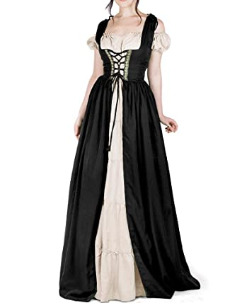 Amazon.com: Dellytop Women Medieval Dress Renaissance Lace up ...