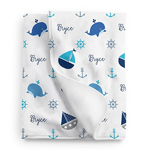 Personalized Nautical Fleece Baby Boy Blanket, Blue print -