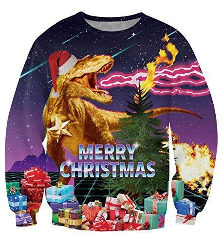 Uideazone Men Women Merry Christmas Shirt Sweater Ugly Xmas Dinosaur Cool Sweatshirt (The Best Christmas Jumper Ever)