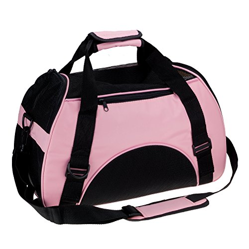 Pink Dog Carrier - Soft Side Pet Carrier Travel Bag for Small Dogs and Cats Airline Approved Under Seat Pink