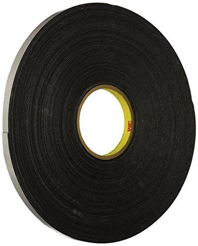 3M Vinyl Foam Tape 4516 Black, 36 yd Length, 1/2