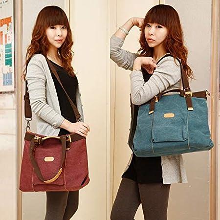 Color : Army Green, Size : 37X32X12CM ACDOS New Canvas Bag Ladies Retro Fashion Wild Portable Shoulder Messenger Bag Korean Fashion Tide Big Bag