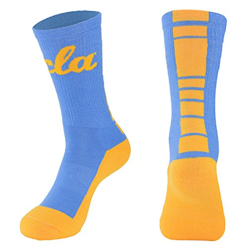NCAA (TEAM) Men's Made in the USA Polytek Champ Performance Crew Socks with Wicking Material and Extra Cushion ,Blue/Yellow,Mens Large 10-13