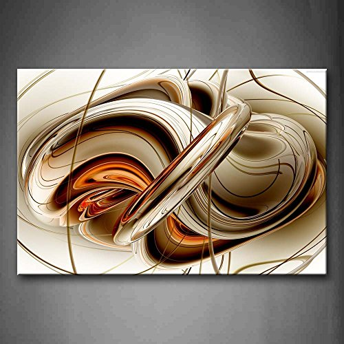 Brown Art Decor (First Wall Art - Abstract Brown White Lines Wall Art Painting The Picture Print On Canvas Abstract Pictures For Home Decor Decoration Gift)