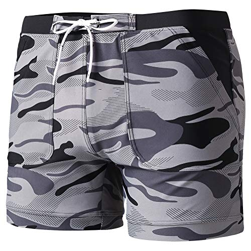 MaaMgic Men's Swimwear Stretch Swimsuits, Solid Mens Swim Boxer Trunks Men Surf Shorts with Pockets