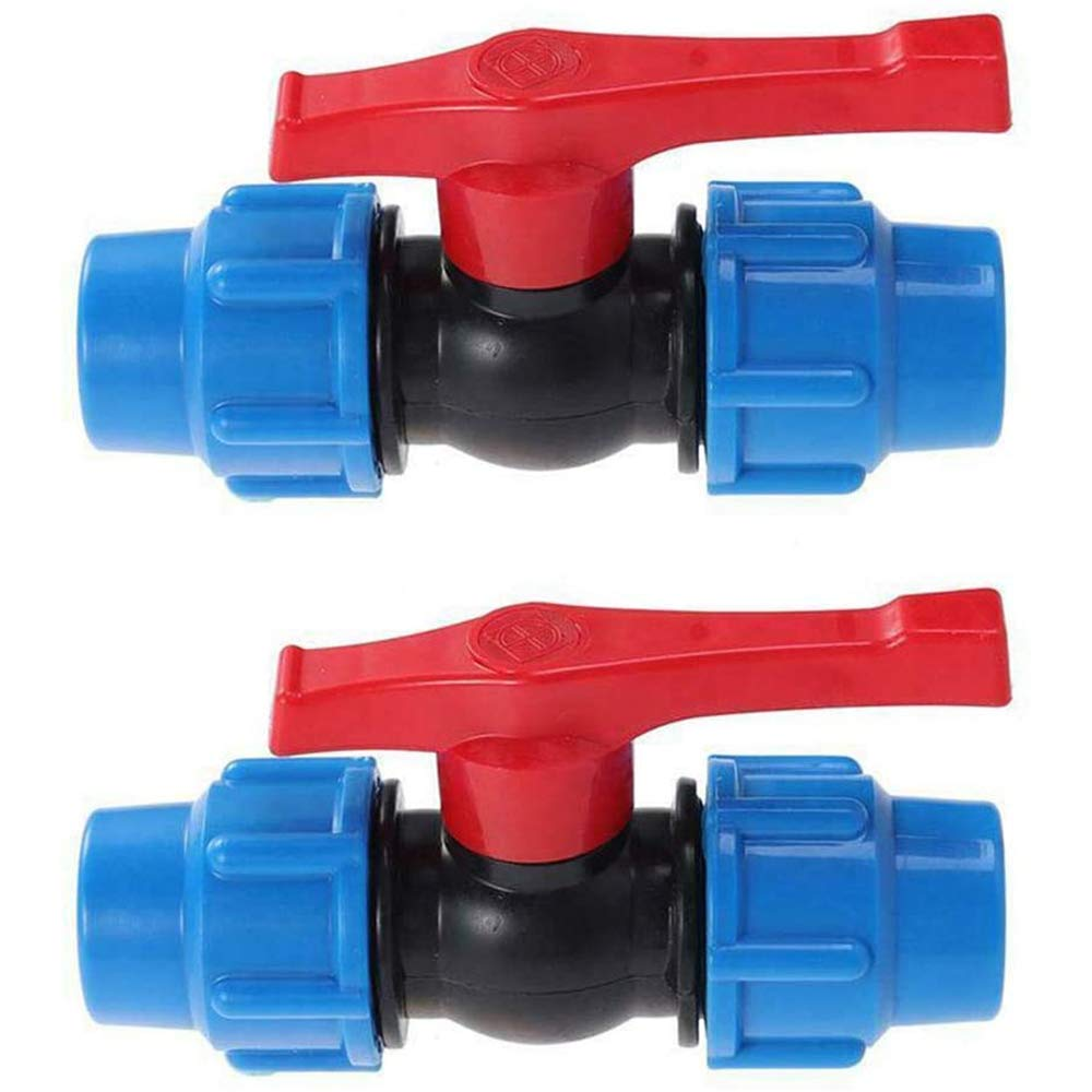 20mm Ball Valves Stop Tap Valve Plastic Pipe Connector Clamp Connector for HDPE Water Adaptor Tube Ball Valve Pack of 2