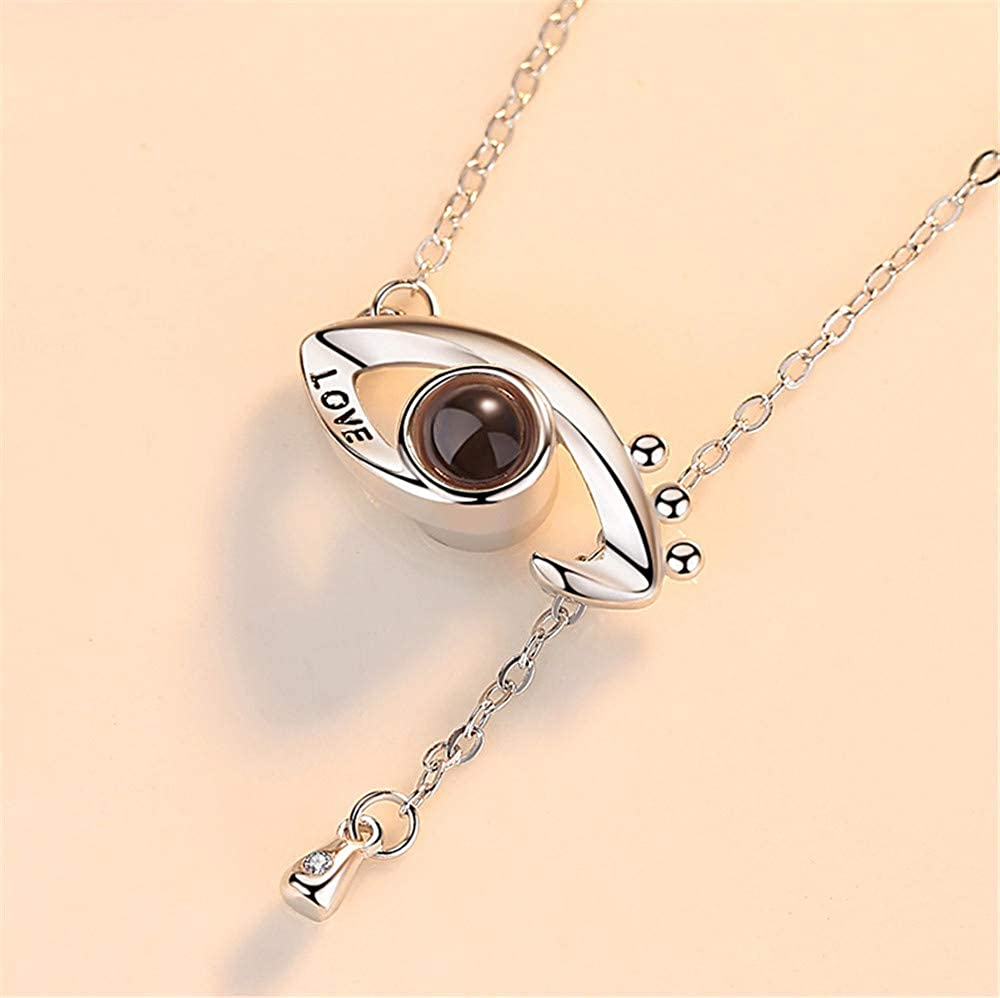 ZHJ8 Custom Photo Necklace 925 Sterling Silver Memory of Love Pendant Necklace,Different Languages I Love You Necklace for Women Girls