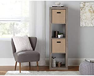 Better Homes and Gardens.. Bookshelf Square Storage Cabinet 4-Cube Organizer (Weathered) (White, 4-Cube) (Rustic Gray, 4-Cube Horizontal/Vertical)