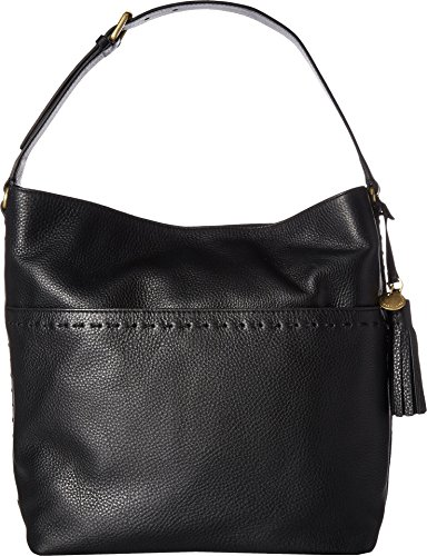 Cole Haan Womens Ivy Pic Stitch Square Bucket Hobo Black One Size