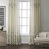 KoTing Home Fashion Modern Polyester China Rose Gray Flower Nature Scenery Print Thermal Insulated Blackout Lined Window Curtains Drapes Grommet Top,1 Panel,72 by 96-Inch