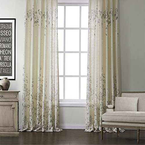 KoTing Home Fashion Modern Polyester China Rose Gray Flower Nature Scenery Print Thermal Insulated Blackout Lined Window Curtains Drapes Grommet Top,1 Panel,72 by 96-Inch For Sale