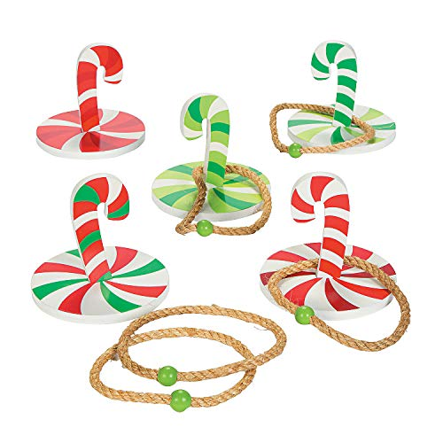 Fun Express - Candy Cane Ring Toss Games (10 Pc) for Christmas - Toys - Games - Misc Games - Christmas - 10 Pieces -