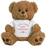 FUNNYSHIRTS.ORG Welcome Baby Girl Coraline With Heart: 8 Inch Teddy Bear Stuffed Animal