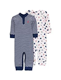 Wan-A-Beez Baby Boys' 2 Pack Printed Coverall (0-3 Months, Nautical Navy)