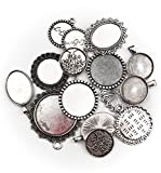 ALL in ONE 15pcs Mixed Cabochon Frame Setting Tray Pendant for DIY Jewelry Making (Silver)
