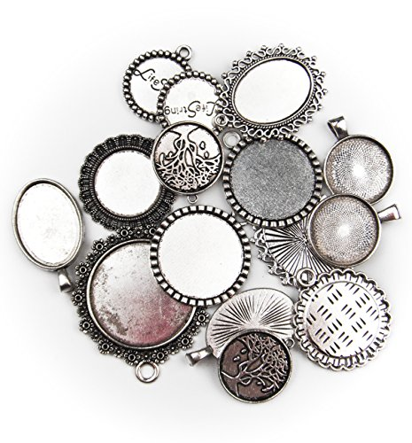 (ALL in ONE 15pcs Mixed Cabochon Frame Setting Tray Pendant for DIY Jewelry Making (Silver))