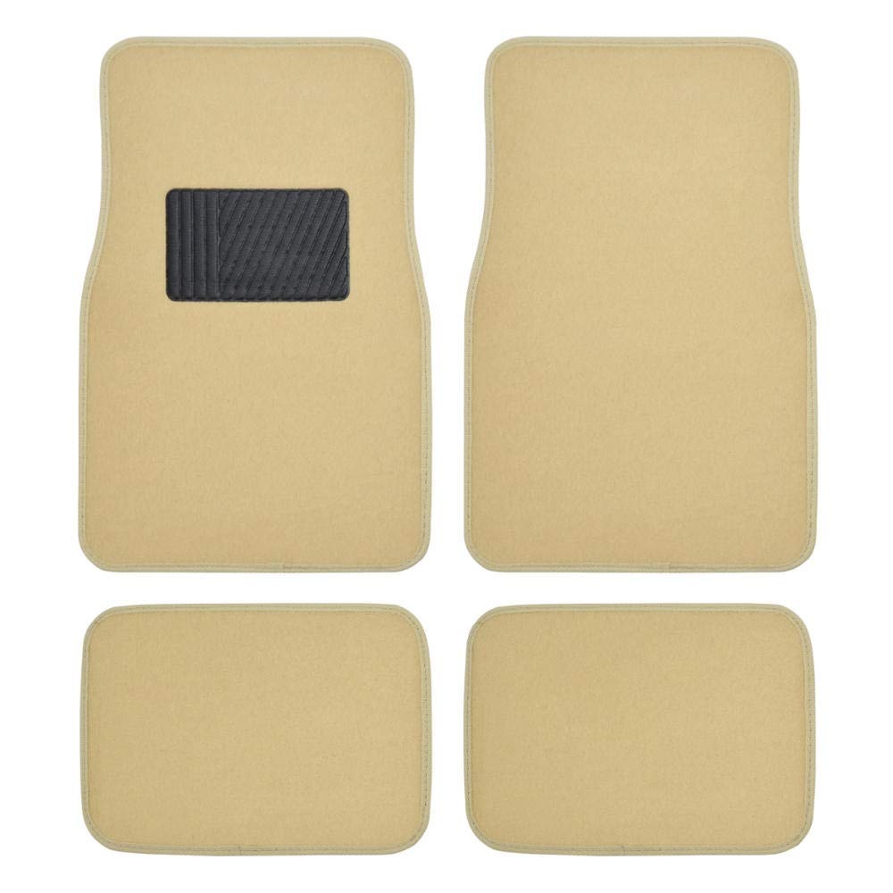 BDK MT-100-LB Classic Carpet Floor Mats for Car SUV Truck and Van - Universal Fit -Front & Rear with Heelpad (Light Beige) by BDK