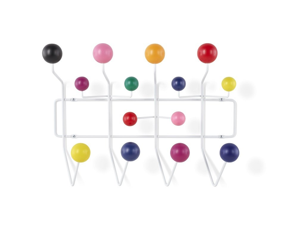 Emorden Furniture Eames Modern Hang it all, Coat Hook Wall Mounted Coat Rack with Painted Solid Wooden Balls in Multi Colors - White Metal Frame(Multi Colors Available)