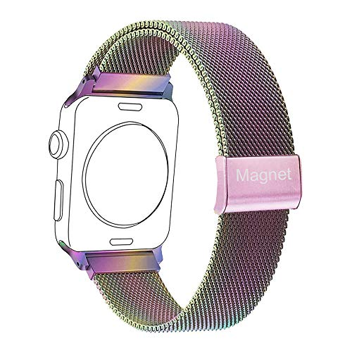 Mangcart Compatible with Watch Band 38mm 40mm 42mm 44mm,Stainless Steel Mesh Magnetic Replacement Band for iWatch Series 4,Series 3,Series 2,Series 1( Colorful  - Magnetic Mesh