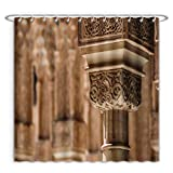 Aireeo Unique Custom Shower Curtains A Decorated Pillar In The Alhambra Near Granada Spain Polyester Fabric Shower Curtain For Bathroom, 72 x 72 Inches