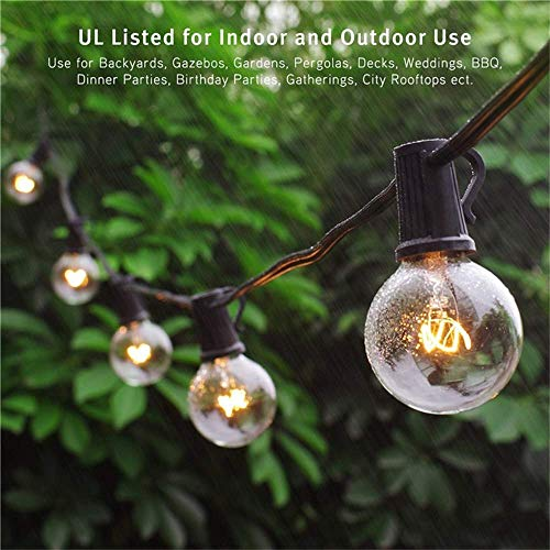 Binval Globe String Lights G40 String Lights UL Listed Patio Lights for Indoor Outdoor Commercial Decoration 25Ft with 27 Clear Bulbs for Party Wedding Garden Backyard Deck Yard Pergola Gazebo Black -