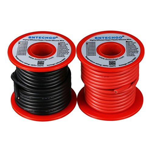 Awg 14 Wire Silicone (BNTECHGO 14 Gauge Silicone Wire Spool 50 feet Ultra Flexible High Temp 200 deg C 600V 14 AWG Silicone Wire 400 Strands of Tinned Copper Wire 25 ft Black and 25 ft Red Stranded Wire for Model Battery)