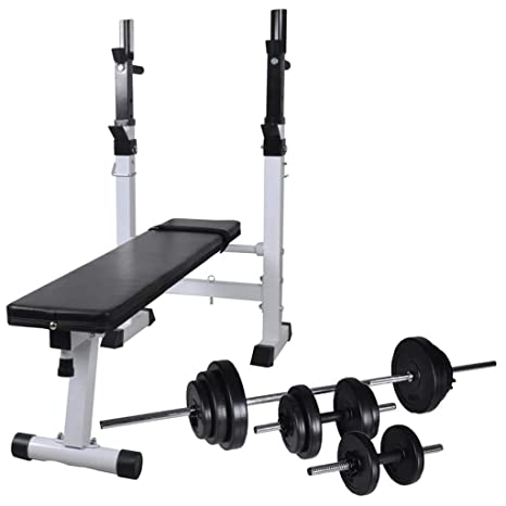 vidaXL Banco Soporte Barras Mancuernas 30,5 kg Musculación Pesas ...