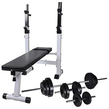 Festnight- Banco de Ejercicios Musculación con Soporte Pesas, Pesas Mancuernas Ajustables 30,5 kg: Amazon.es: Hogar