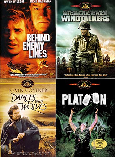 Recon mission 101 Box Set War Movie Collection Windtalkers / Platoon / Dances with Wolves & Behind Enemy Lines History 4-DVD Bundle (War Dance Dvd)