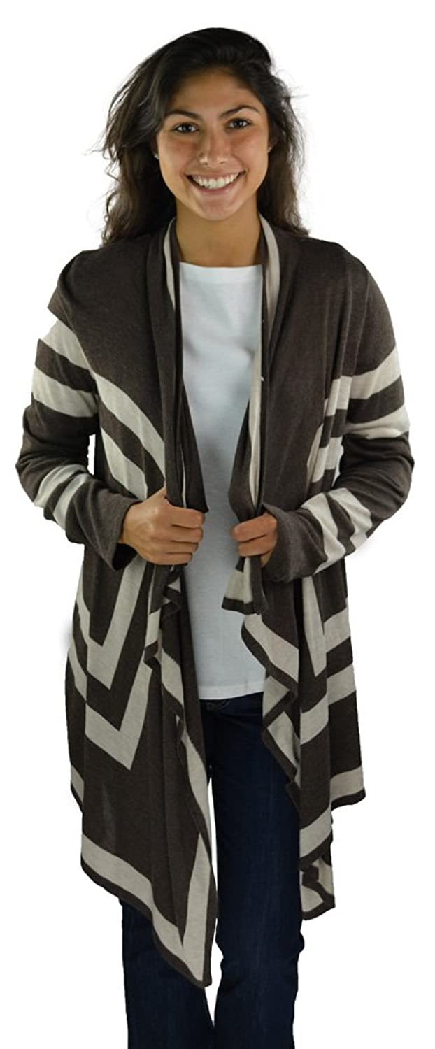 INC. International Concepts Women's Draped Striped Cardigan X Large Brown/Beige Combo